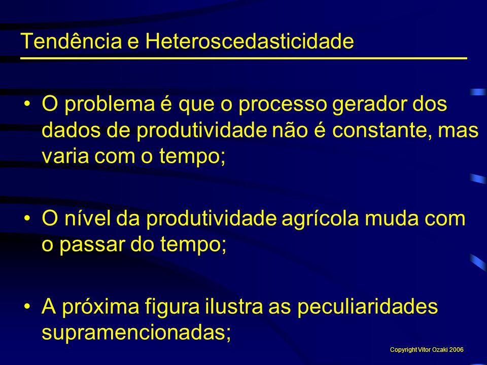 O problema é que o processo gerador dos dados de produtividade não é constante, mas varia com o tempo; O nível da produtividade agrícola muda com o pa