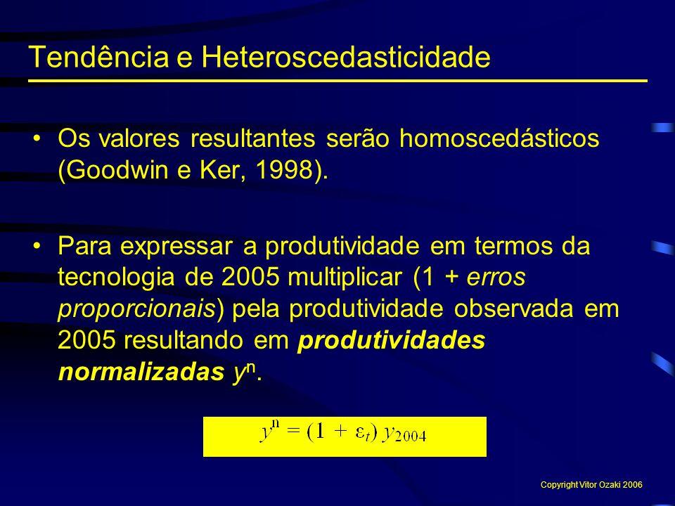 Os valores resultantes serão homoscedásticos (Goodwin e Ker, 1998). Para expressar a produtividade em termos da tecnologia de 2005 multiplicar (1 + er