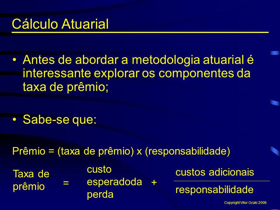 Cálculo Atuarial Antes de abordar a metodologia atuarial é interessante explorar os componentes da taxa de prêmio; Sabe-se que: Prêmio = (taxa de prêm