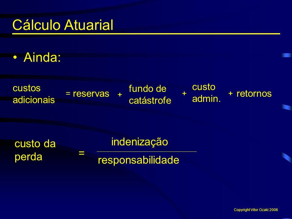 Cálculo Atuarial Ainda: custos adicionais = custo da perda indenização = responsabilidade reservas fundo de catástrofe custo admin. retornos + ++ Copy