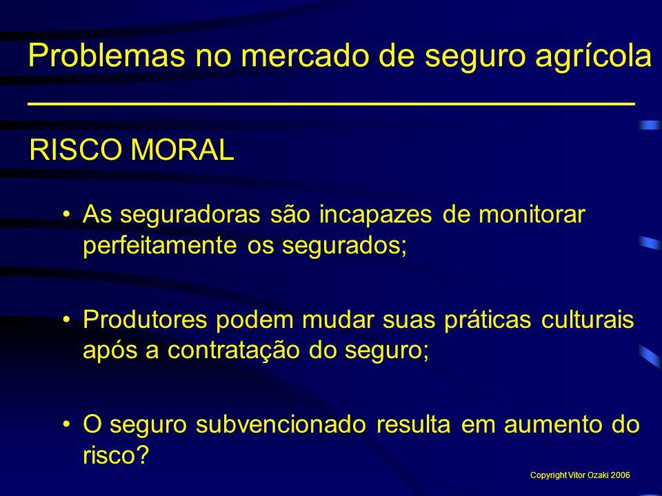 RISCO MORAL As seguradoras são incapazes de monitorar perfeitamente os segurados; Produtores podem mudar suas práticas culturais após a contratação do