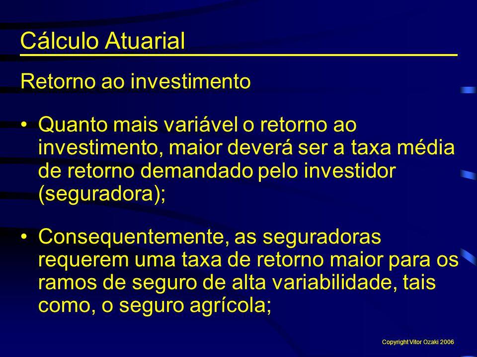 Retorno ao investimento Quanto mais variável o retorno ao investimento, maior deverá ser a taxa média de retorno demandado pelo investidor (seguradora