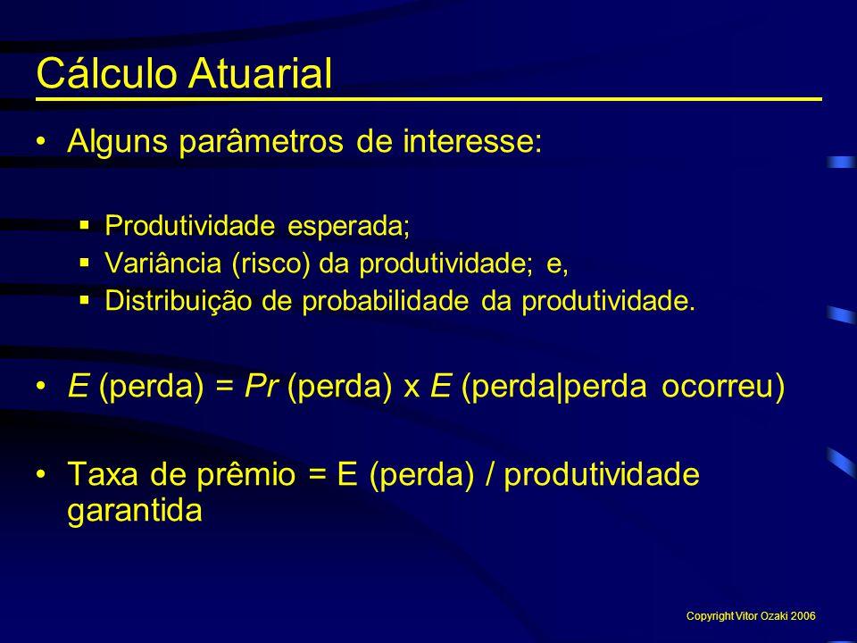 Alguns parâmetros de interesse:  Produtividade esperada;  Variância (risco) da produtividade; e,  Distribuição de probabilidade da produtividade. E