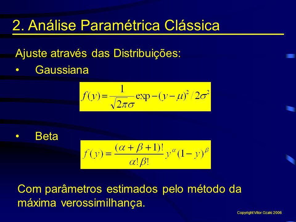 Ajuste através das Distribuições: Gaussiana Beta Com parâmetros estimados pelo método da máxima verossimilhança. 2. Análise Paramétrica Clássica Copyr