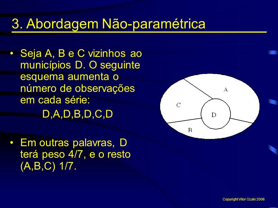 Seja A, B e C vizinhos ao municípios D. O seguinte esquema aumenta o número de observações em cada série: D,A,D,B,D,C,D Em outras palavras, D terá pes