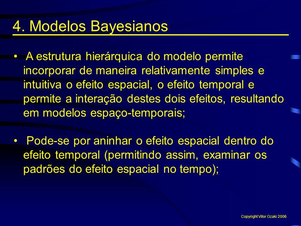 A estrutura hierárquica do modelo permite incorporar de maneira relativamente simples e intuitiva o efeito espacial, o efeito temporal e permite a int