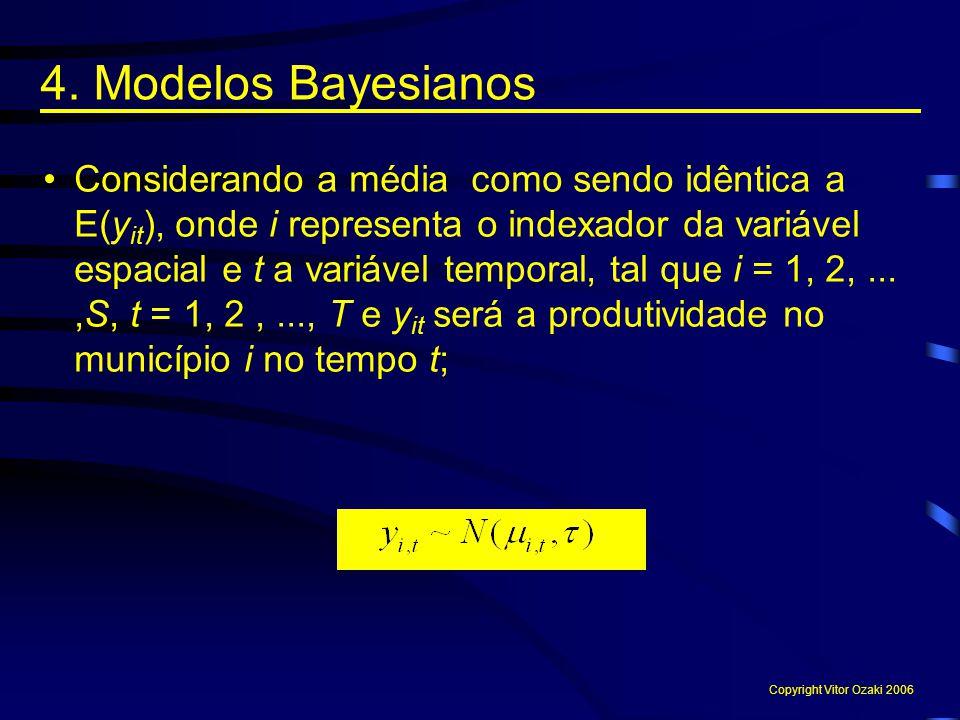 4. Modelos Bayesianos Considerando a média como sendo idêntica a E(y it ), onde i representa o indexador da variável espacial e t a variável temporal,