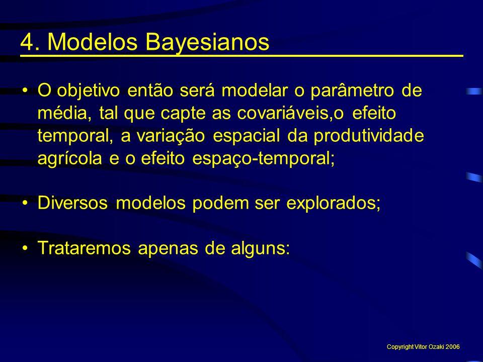 4. Modelos Bayesianos O objetivo então será modelar o parâmetro de média, tal que capte as covariáveis,o efeito temporal, a variação espacial da produ