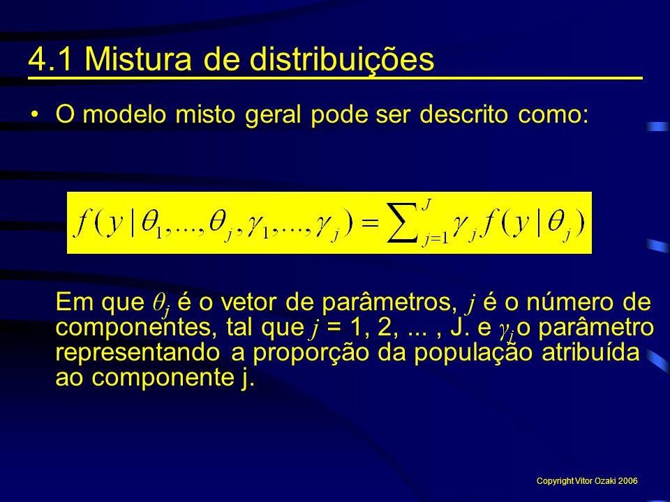 O modelo misto geral pode ser descrito como: Em que θ j é o vetor de parâmetros, j é o número de componentes, tal que j = 1, 2,..., J. e γ j o parâmet