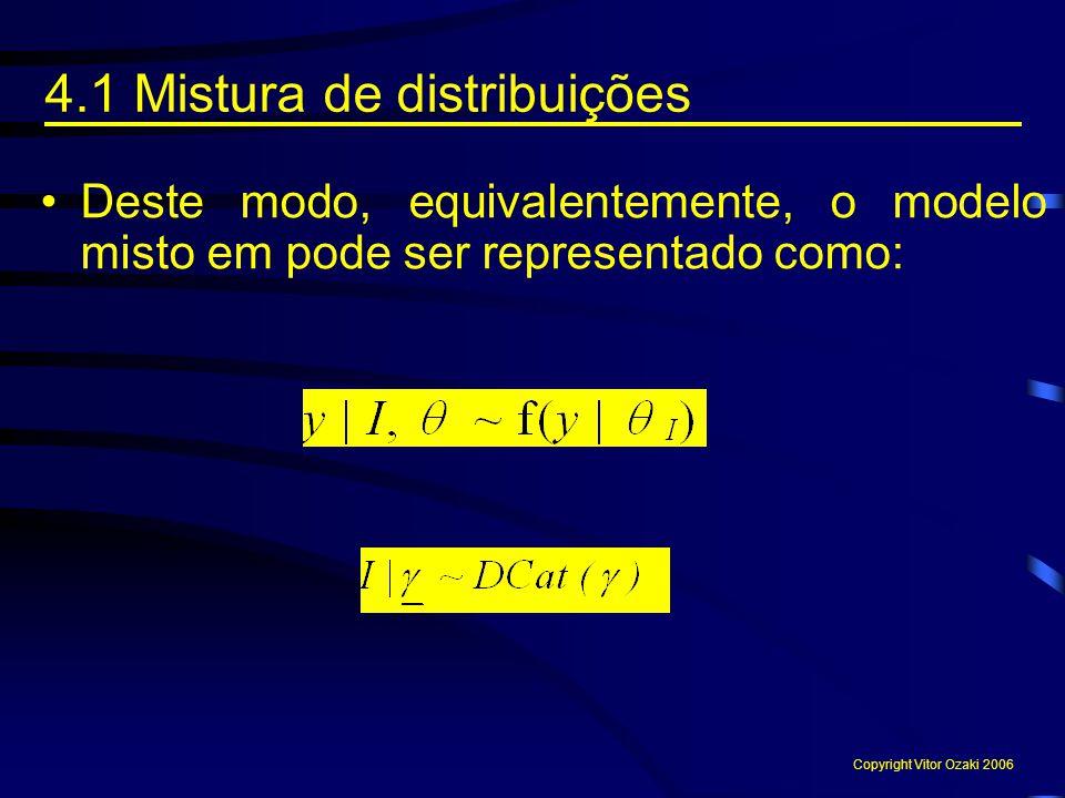 Deste modo, equivalentemente, o modelo misto em pode ser representado como: 4.1 Mistura de distribuições Copyright Vitor Ozaki 2006
