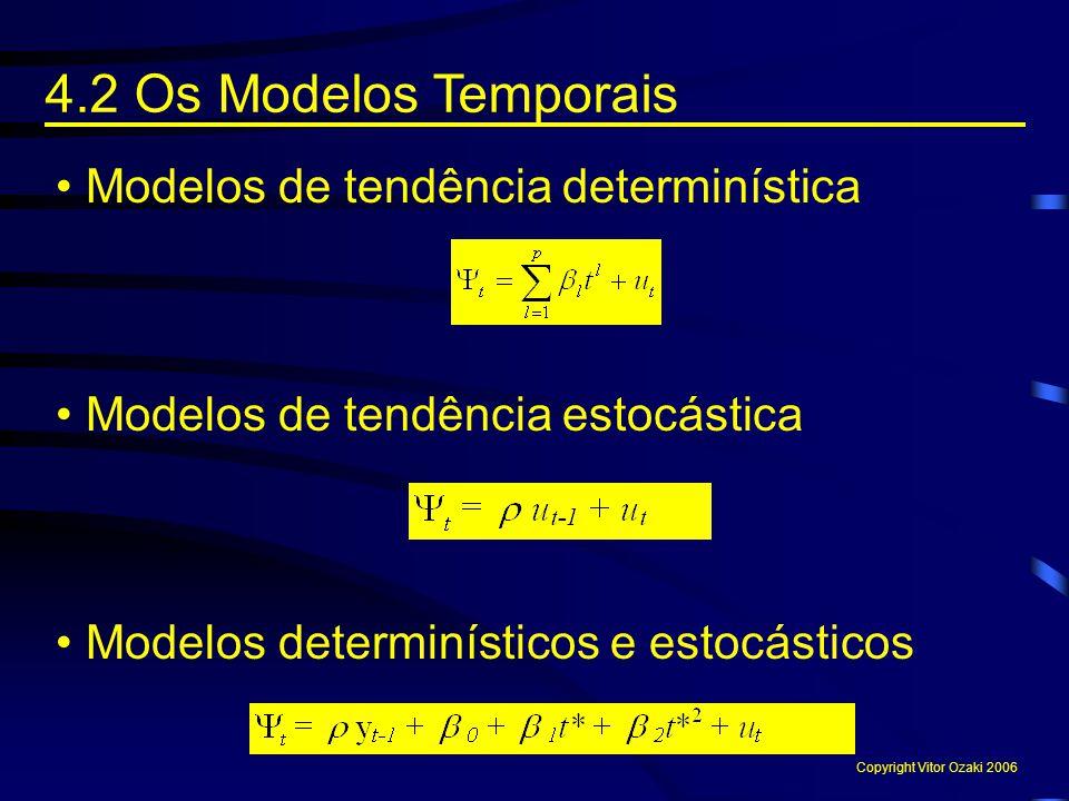 4.2 Os Modelos Temporais Copyright Vitor Ozaki 2006 Modelos de tendência determinística Modelos de tendência estocástica Modelos determinísticos e est