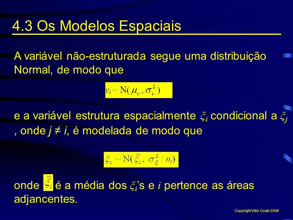 4.3 Os Modelos Espaciais A variável não-estruturada segue uma distribuição Normal, de modo que e a variável estrutura espacialmente ξ i condicional a