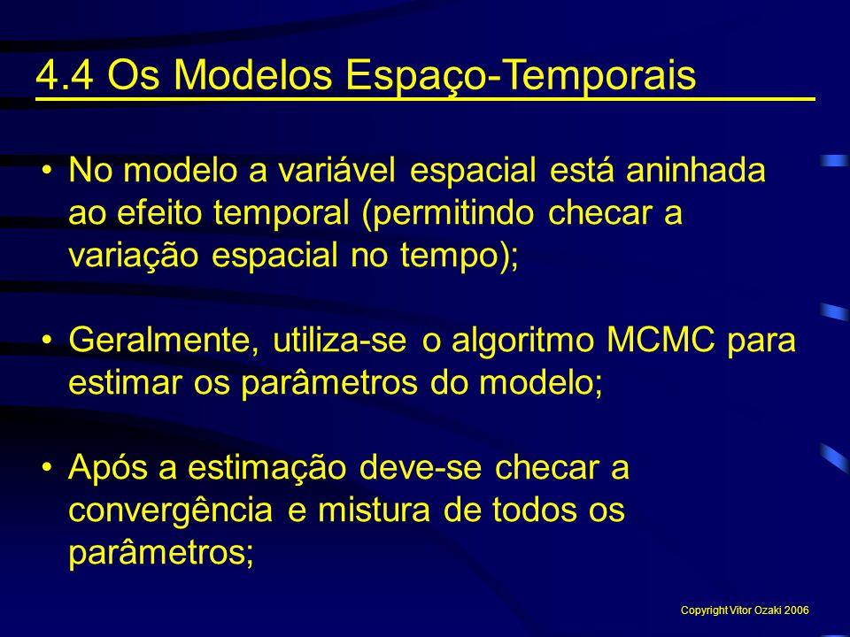 No modelo a variável espacial está aninhada ao efeito temporal (permitindo checar a variação espacial no tempo); Geralmente, utiliza-se o algoritmo MC