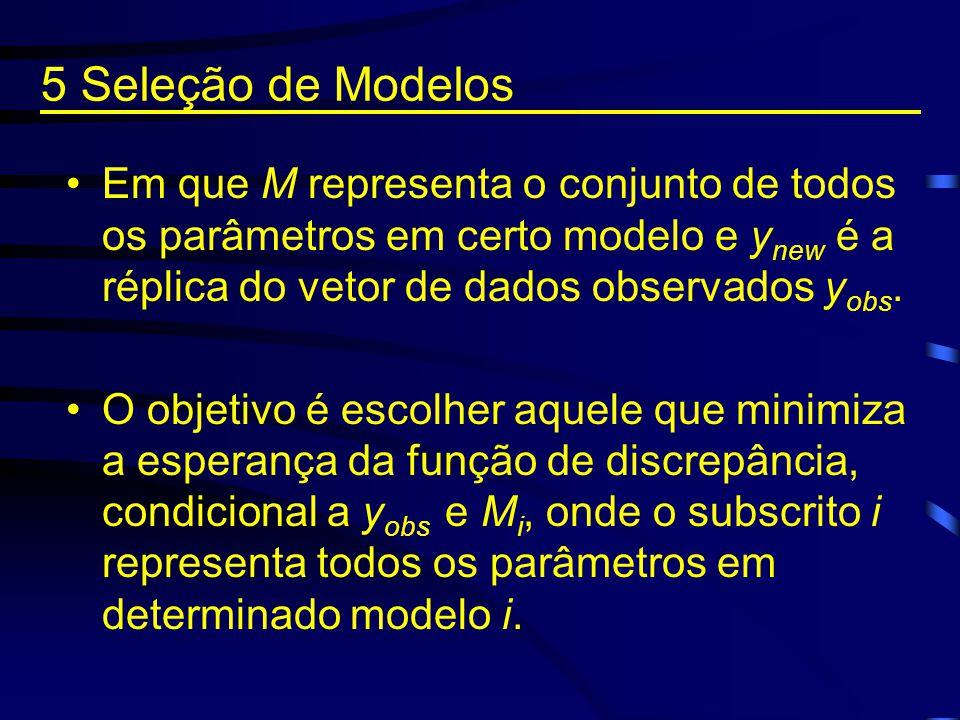 Em que M representa o conjunto de todos os parâmetros em certo modelo e y new é a réplica do vetor de dados observados y obs. O objetivo é escolher aq