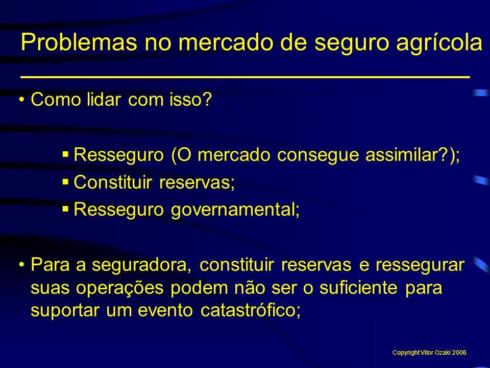 Como lidar com isso?  Resseguro (O mercado consegue assimilar?);  Constituir reservas;  Resseguro governamental; Para a seguradora, constituir rese
