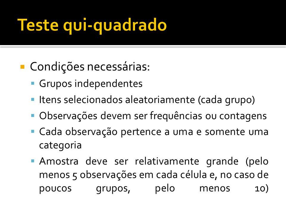  Condições necessárias:  Grupos independentes  Itens selecionados aleatoriamente (cada grupo)  Observações devem ser frequências ou contagens  Ca
