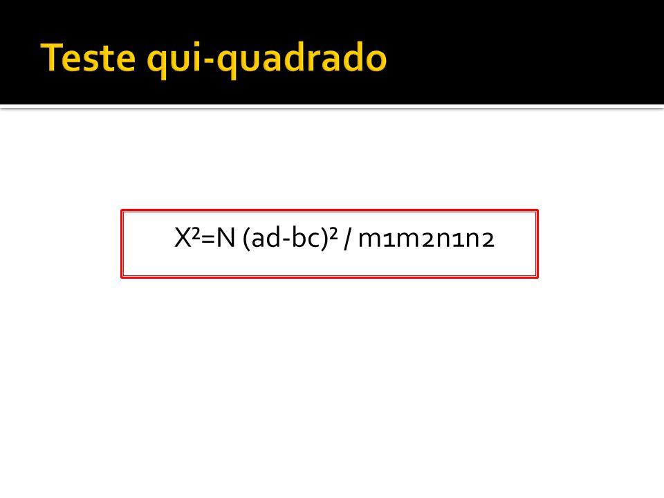 X²=N (ad-bc)² / m1m2n1n2