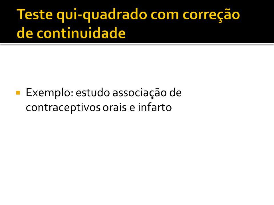  Exemplo: estudo associação de contraceptivos orais e infarto