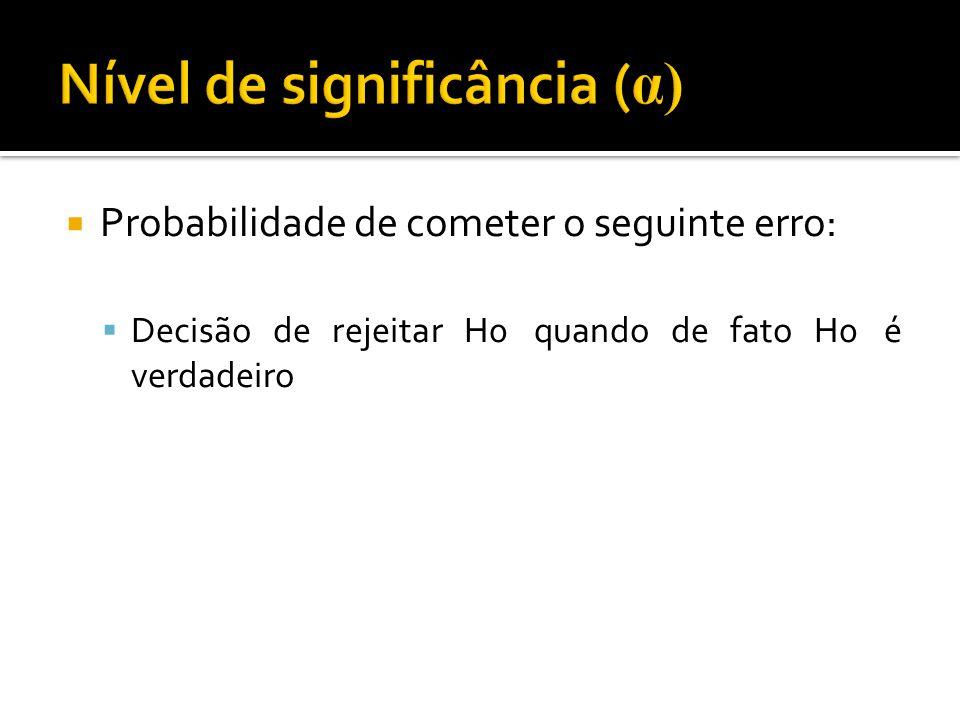  Probabilidade de cometer o seguinte erro:  Decisão de rejeitar H0 quando de fato H0 é verdadeiro