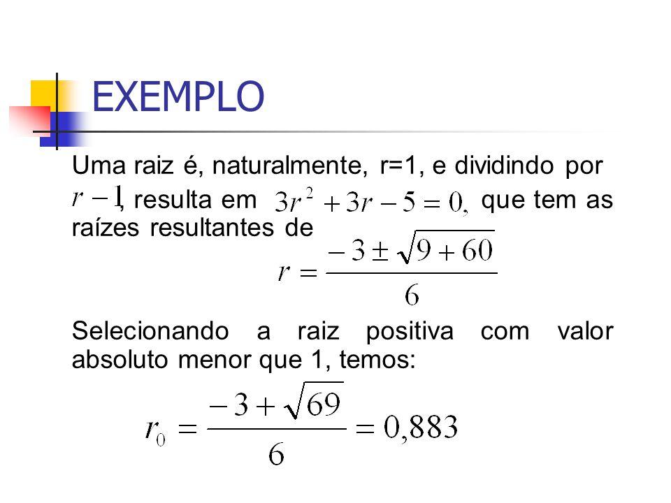 EXEMPLO Uma raiz é, naturalmente, r=1, e dividindo por, resulta em que tem as raízes resultantes de Selecionando a raiz positiva com valor absoluto me