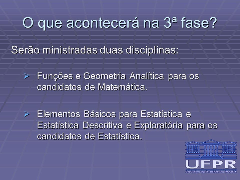 O que acontecerá na 3ª fase? Serão ministradas duas disciplinas:  Funções e Geometria Analítica para os candidatos de Matemática.  Elementos Básicos