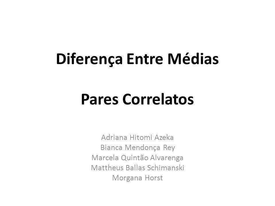 Diferença Entre Médias Pares Correlatos Adriana Hitomi Azeka Bianca Mendonça Rey Marcela Quintão Alvarenga Mattheus Ballas Schimanski Morgana Horst