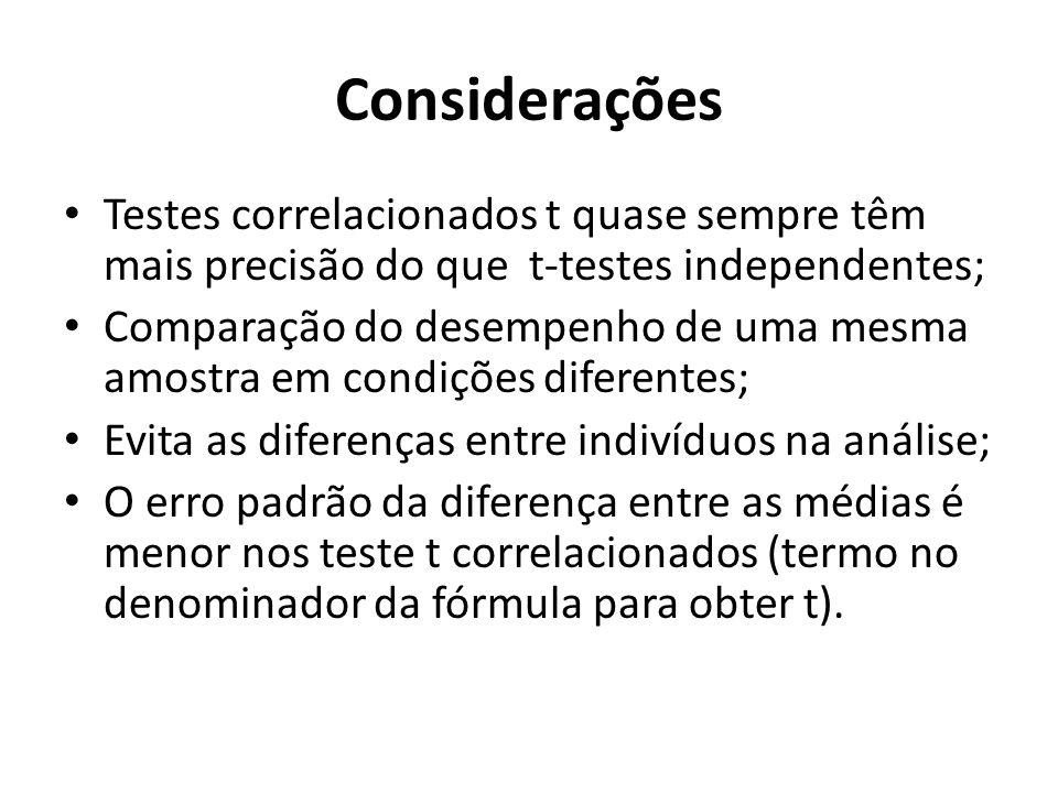 Considerações Testes correlacionados t quase sempre têm mais precisão do que t-testes independentes; Comparação do desempenho de uma mesma amostra em