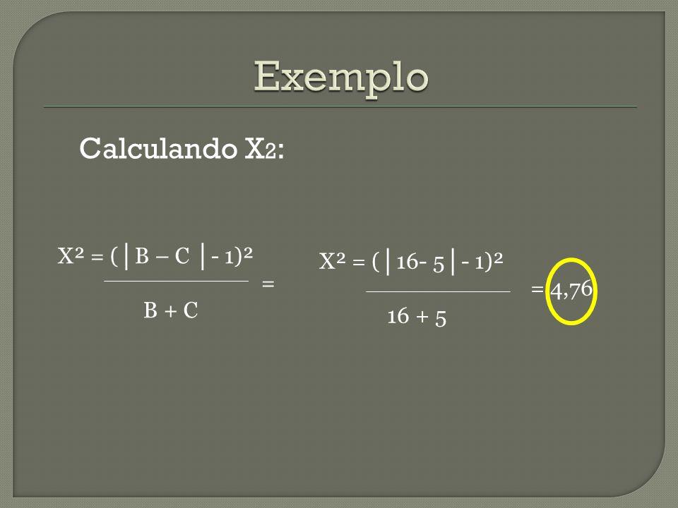 X² = ( │ B – C │ - 1)² = B + C Calculando X 2 : X² = ( │ 16- 5 │ - 1)² = 4,76 16 + 5