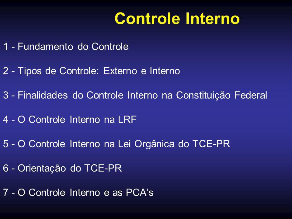 Controle Interno 1 - Fundamento do Controle 2 - Tipos de Controle: Externo e Interno 3 - Finalidades do Controle Interno na Constituição Federal 4 - O Controle Interno na LRF 5 - O Controle Interno na Lei Orgânica do TCE-PR 6 - Orientação do TCE-PR 7 - O Controle Interno e as PCA's