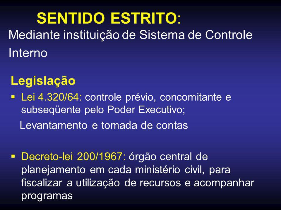 SENTIDO ESTRITO: Mediante instituição de Sistema de Controle Interno Legislação  Lei 4.320/64: controle prévio, concomitante e subseqüente pelo Poder