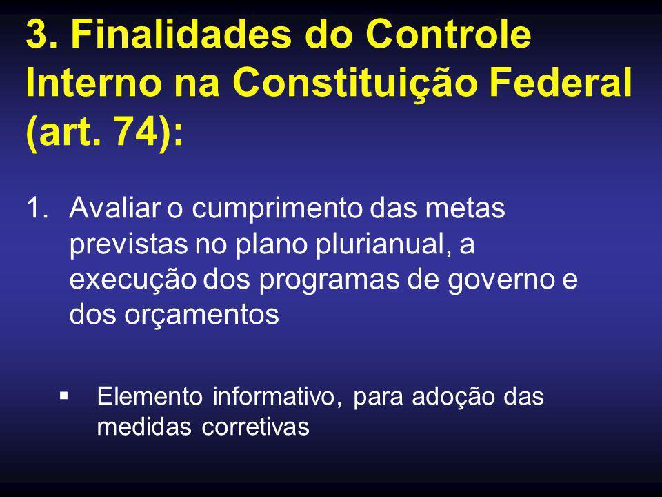 3. Finalidades do Controle Interno na Constituição Federal (art. 74): 1.Avaliar o cumprimento das metas previstas no plano plurianual, a execução dos