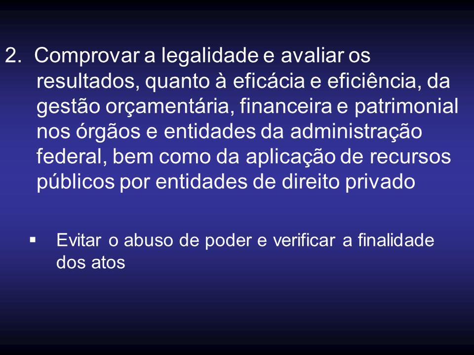 2. Comprovar a legalidade e avaliar os resultados, quanto à eficácia e eficiência, da gestão orçamentária, financeira e patrimonial nos órgãos e entid