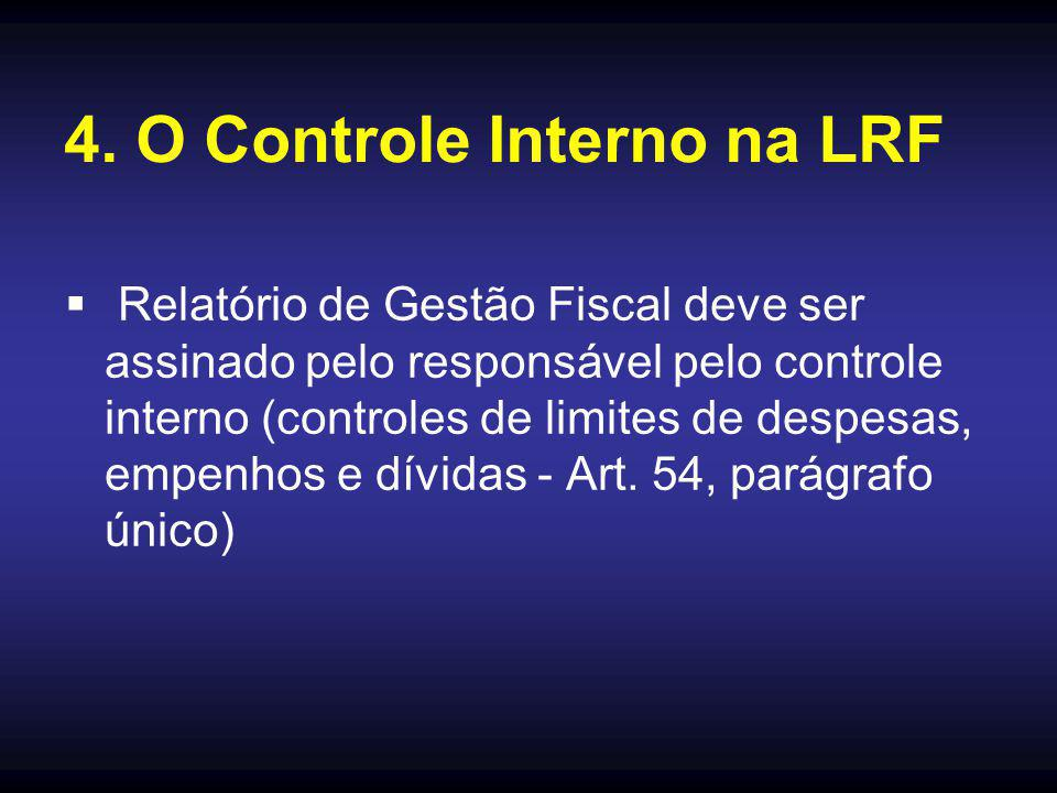  Relatório de Gestão Fiscal deve ser assinado pelo responsável pelo controle interno (controles de limites de despesas, empenhos e dívidas - Art. 54,