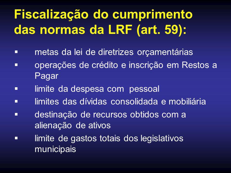Fiscalização do cumprimento das normas da LRF (art. 59):  metas da lei de diretrizes orçamentárias  operações de crédito e inscrição em Restos a Pag