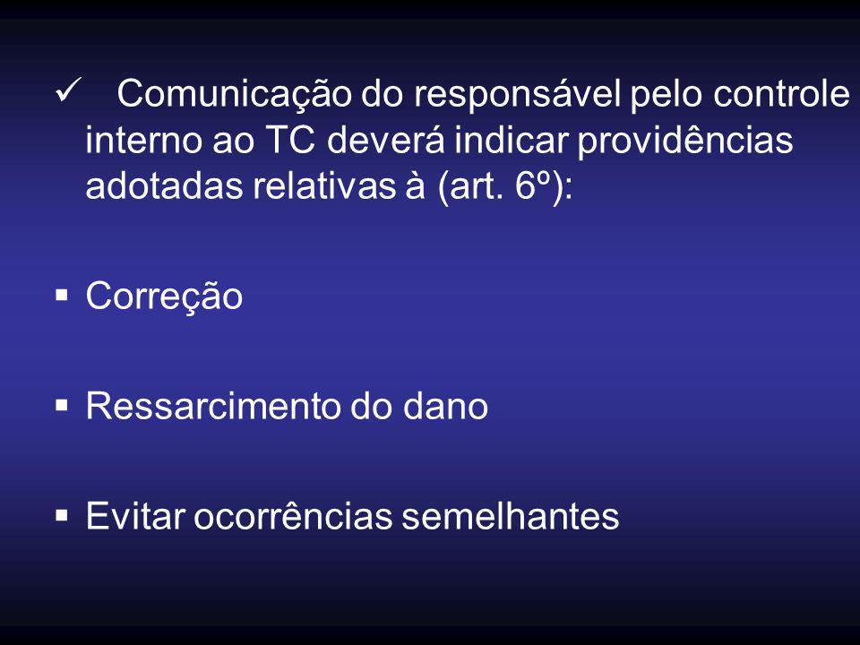 Comunicação do responsável pelo controle interno ao TC deverá indicar providências adotadas relativas à (art. 6º):  Correção  Ressarcimento do dano