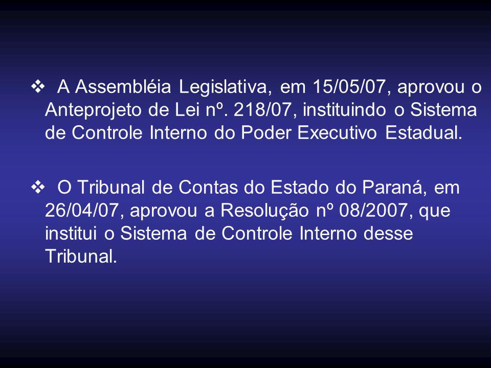  A Assembléia Legislativa, em 15/05/07, aprovou o Anteprojeto de Lei nº. 218/07, instituindo o Sistema de Controle Interno do Poder Executivo Estadua