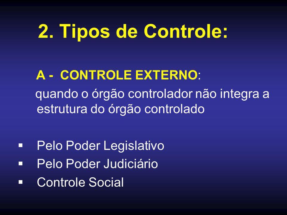 2. Tipos de Controle: A - CONTROLE EXTERNO: quando o órgão controlador não integra a estrutura do órgão controlado  Pelo Poder Legislativo  Pelo Pod