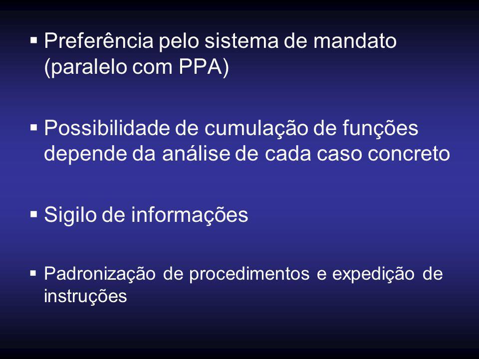  Preferência pelo sistema de mandato (paralelo com PPA)  Possibilidade de cumulação de funções depende da análise de cada caso concreto  Sigilo de informações  Padronização de procedimentos e expedição de instruções