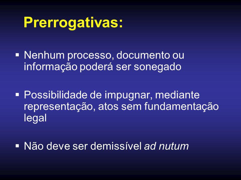 Prerrogativas:  Nenhum processo, documento ou informação poderá ser sonegado  Possibilidade de impugnar, mediante representação, atos sem fundamenta
