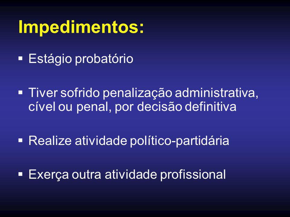 Impedimentos:  Estágio probatório  Tiver sofrido penalização administrativa, cível ou penal, por decisão definitiva  Realize atividade político-par