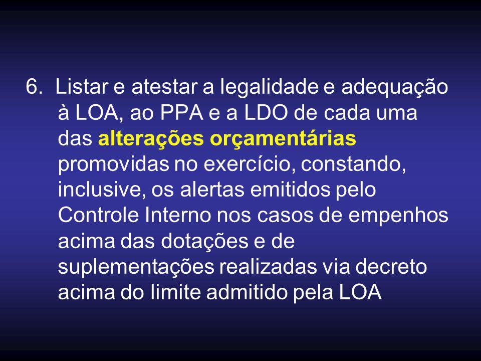 6. Listar e atestar a legalidade e adequação à LOA, ao PPA e a LDO de cada uma das alterações orçamentárias promovidas no exercício, constando, inclus