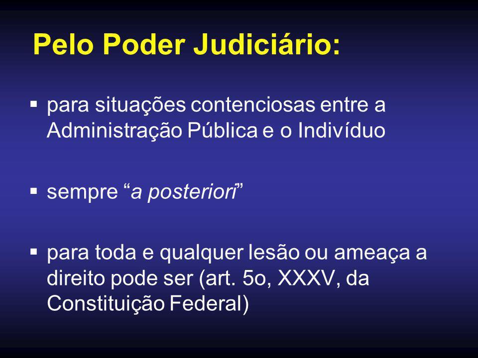 Pelo Poder Judiciário:  para situações contenciosas entre a Administração Pública e o Indivíduo  sempre a posteriori  para toda e qualquer lesão ou ameaça a direito pode ser (art.