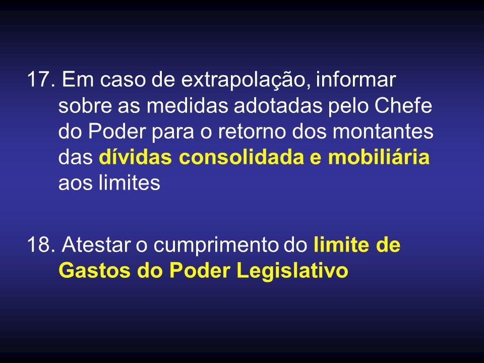 17. Em caso de extrapolação, informar sobre as medidas adotadas pelo Chefe do Poder para o retorno dos montantes das dívidas consolidada e mobiliária