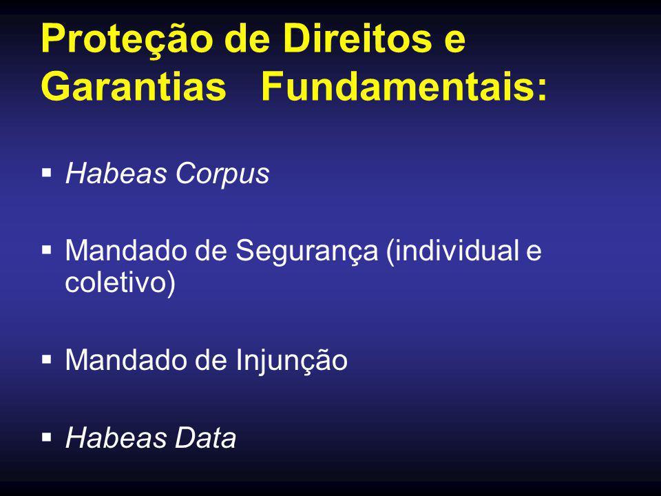 Proteção de Direitos e Garantias Fundamentais:  Habeas Corpus  Mandado de Segurança (individual e coletivo)  Mandado de Injunção  Habeas Data