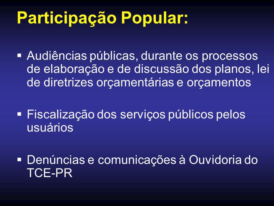 Participação Popular:  Audiências públicas, durante os processos de elaboração e de discussão dos planos, lei de diretrizes orçamentárias e orçamentos  Fiscalização dos serviços públicos pelos usuários  Denúncias e comunicações à Ouvidoria do TCE-PR
