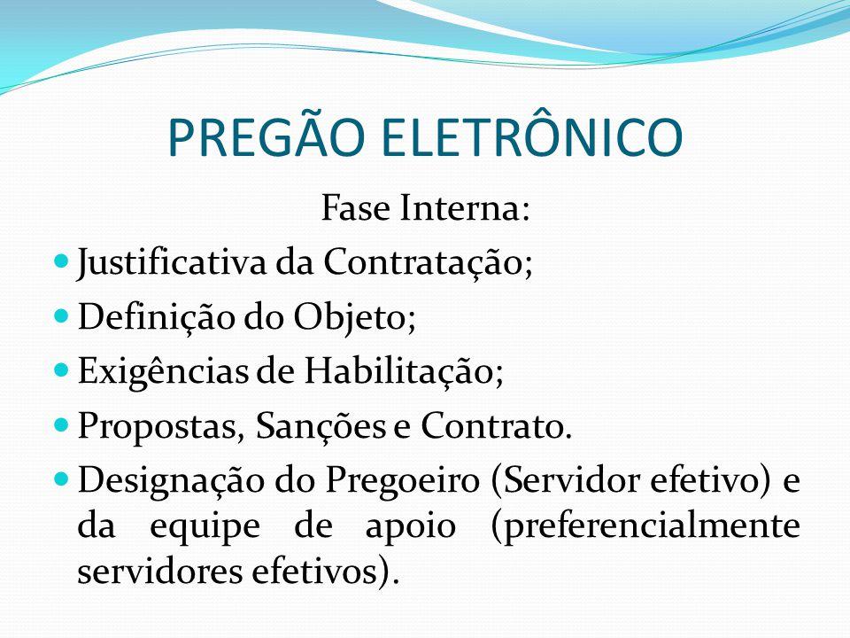 PREGÃO ELETRÔNICO Fase Interna: Justificativa da Contratação; Definição do Objeto; Exigências de Habilitação; Propostas, Sanções e Contrato. Designaçã