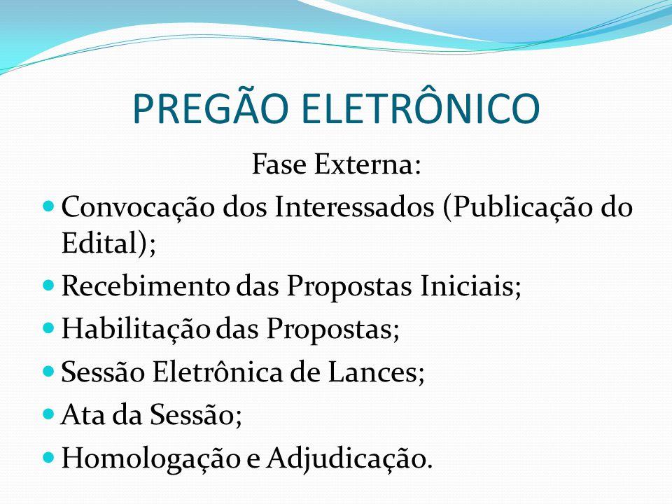 PREGÃO ELETRÔNICO Fase Externa: Convocação dos Interessados (Publicação do Edital); Recebimento das Propostas Iniciais; Habilitação das Propostas; Sessão Eletrônica de Lances; Ata da Sessão; Homologação e Adjudicação.