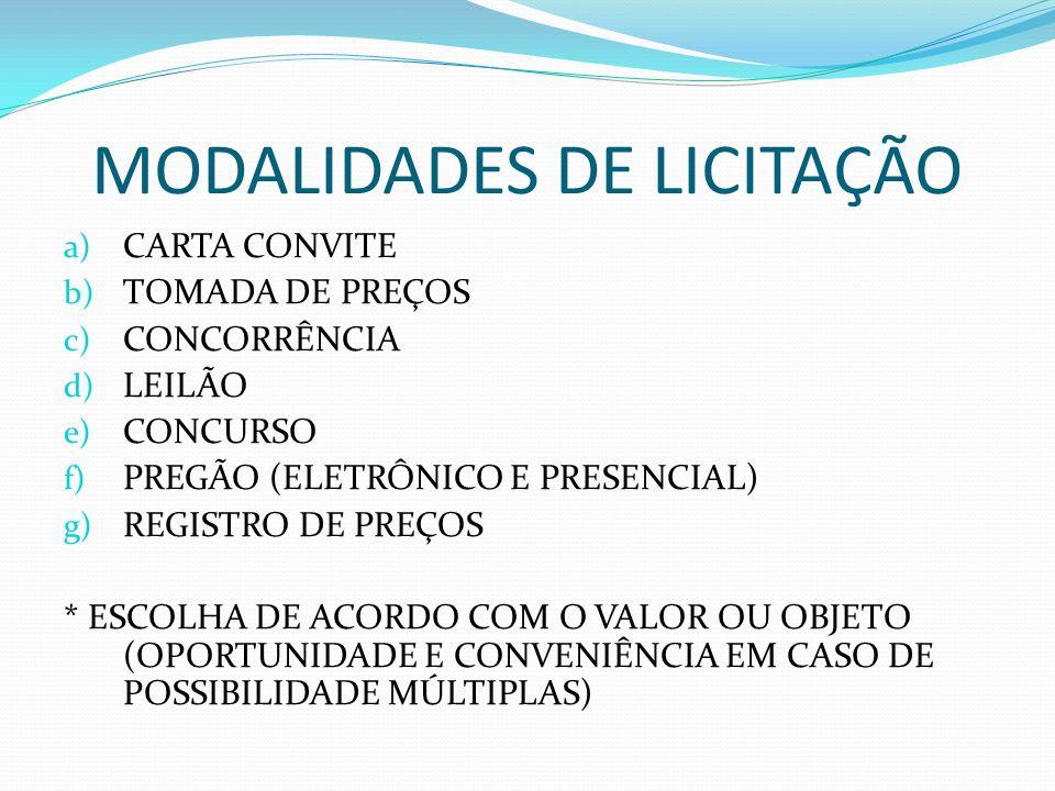 MODALIDADES DE LICITAÇÃO a) CARTA CONVITE b) TOMADA DE PREÇOS c) CONCORRÊNCIA d) LEILÃO e) CONCURSO f) PREGÃO (ELETRÔNICO E PRESENCIAL) g) REGISTRO DE PREÇOS * ESCOLHA DE ACORDO COM O VALOR OU OBJETO (OPORTUNIDADE E CONVENIÊNCIA EM CASO DE POSSIBILIDADE MÚLTIPLAS)