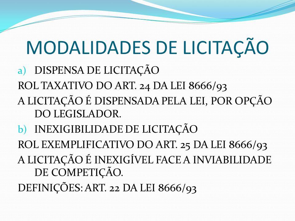 MODALIDADES DE LICITAÇÃO a) DISPENSA DE LICITAÇÃO ROL TAXATIVO DO ART. 24 DA LEI 8666/93 A LICITAÇÃO É DISPENSADA PELA LEI, POR OPÇÃO DO LEGISLADOR. b