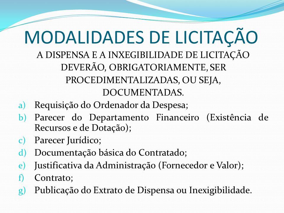 MODALIDADES DE LICITAÇÃO A DISPENSA E A INXEGIBILIDADE DE LICITAÇÃO DEVERÃO, OBRIGATORIAMENTE, SER PROCEDIMENTALIZADAS, OU SEJA, DOCUMENTADAS. a) Requ